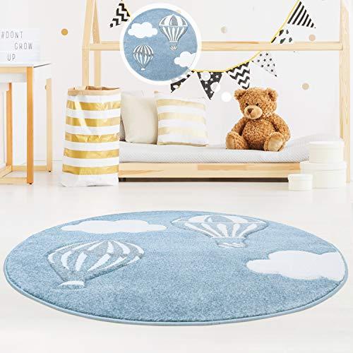 MyShop24h Kinderteppich Kinderzimmer schöner Teppich in Blau/Weiß Hochwertig Bueno Konturenschnitt Himmel Heißluft-Ballons Wolken, Größe in cm:120 x 120 cm rund -