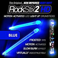 BRILLIANT BLUE - LED LIGHT UP DRUM STICKS - ROCKSTIX FIRESTIX