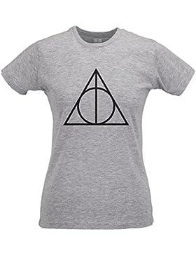 LaMAGLIERIA Camiseta Mujer Slim Sign of Deathly Hallows Black Print - T-Shirt Harry Potter 100% Algodòn Ring Spun