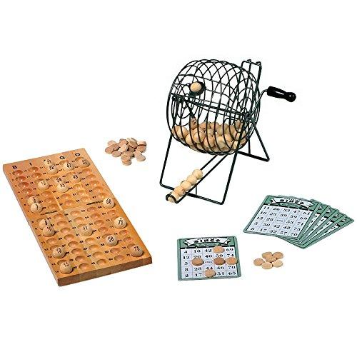 Bingospiel / Beschäftigungsspiel mit Misch- und Losmaschine aus Metall, 24 Spielkarten, 75 Kugeln und 150 Spielchips aus Holz, ab 6 Jahren