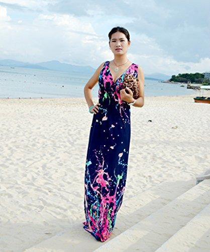 Smile YKK Femme Rétro Robe Longue Bohême Peplum V Col Imprimée Casual de Beach Bleu