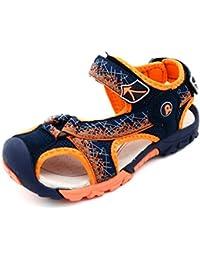 Bwiv sandales garçon à scratch avec semelles intérieures fourrées de peau sandales d'été durables des tailles 24,5-38 EU