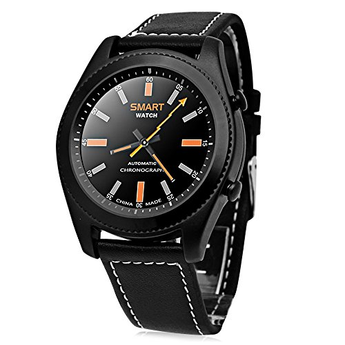 No.1 S9 Smartwatch Heart Rate Bluetooth Intelligente Bracciale Sport Fitness Tracker Sonno Quality Monitor PSG Chiamata / Notifica Promemoria Per Android e IOS Cinturino di Pelle Nero