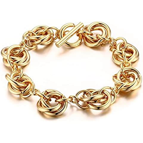 Trendy–Acero inoxidable bañado en oro vinculados Mujer Toggle Pulseras de cierre, 21,2cm Longitud de Cadena