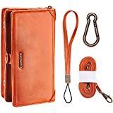 CORNMI IPhone X Case Detachable Faux Leather Sport Wallet Card Slot Zipper Purse Wrist Shoulder Bag Pouch Kickstand For IPhone X (Orange)