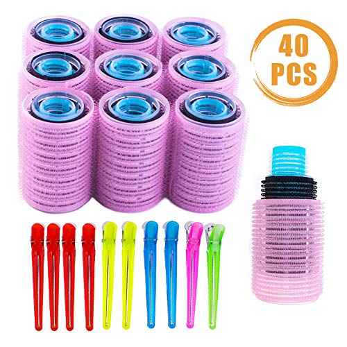 Quacoww - Juego de 40 rulos de pelo con agarre automático, 3 colores, con 10 horquillas universales para el cuidado del cabello