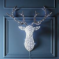 Tête de Cerf Lumineuse de Noël Scintillante à LED Blanches pour Intérieur ou Extérieur par Lights4fun