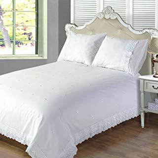 Chateau de Belle Maison White Super King Size Duvet Cover Set Anglaise, Embroidered Luxury Bedding-Victoria, Polyester-Cotton