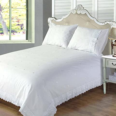 Chateau De Belle Maison Anglaise Embroidered Luxury Bedding Victoria Duvet Cover Set, White, Super King