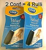 Scholl Velvet Soft Smooth Express Piedi- 4 Rulli di Ricambio