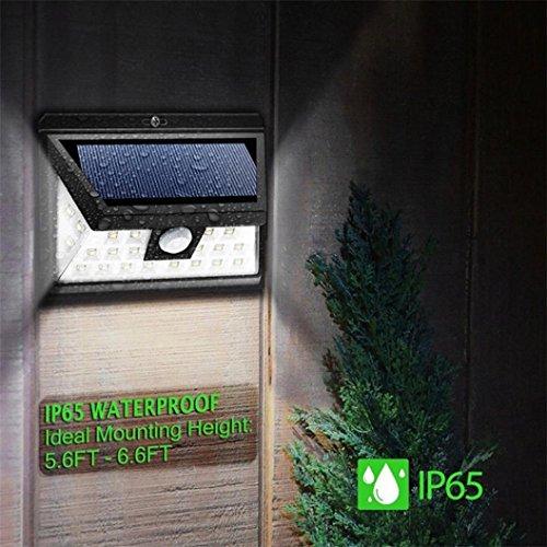 VENMO Solarlichter im Freien 34 LED Bewegungs-Sensor-Solarlichter mit breiter Beleuchtungs-Fläche Gartenleuchten Superhelle Solarbetriebene Outdoor Spotlight, Wasserdicht für die Hinterhöfe, Gärten, Rasen (white)