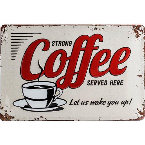 Nostalgic-Art 22249 USA - Strong Coffee Served Here, Blechschild 20x30 cm