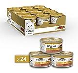 Gourmet Purina Gold Umido Gatto dadini in Salsa con Anatra in Salsa con Olive - 24 Lattine da 85 g Ciascuna (Confezione da 24 X 85 g)
