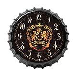 Crown Bottle Cap Retro Wanduhr Adornment Bracket Clock Silent-Wand-Dekor D