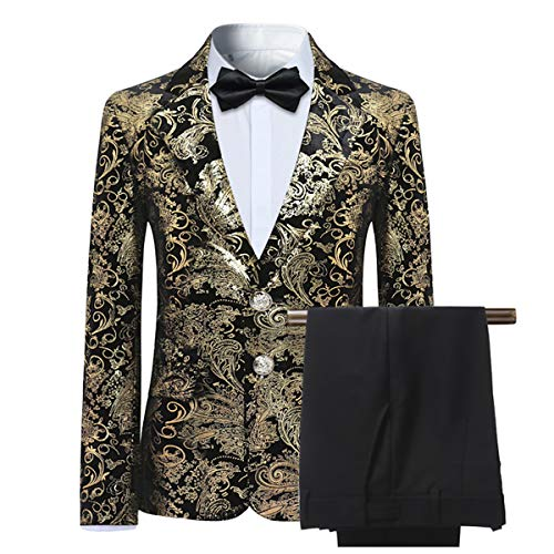 fallendes revers Anzug Jungen Smoking Baby 2 Teilig nett süßig Golden Jacquard mit Fallendes Revers 3-15 Jahre Alt 110
