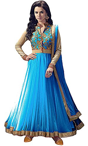 Women\'s Clothing Anarkali Suit Designer Party Wear Today Offers Low Price Sale Top Sky Blue Color Banglori Silk Fabric Free Size Salwar Kameez Dress