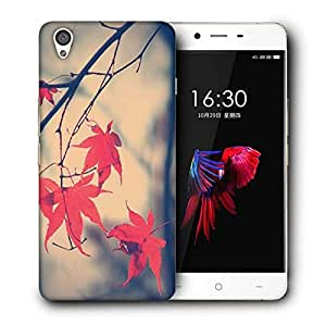 Snoogg Nature Leaves Red Designer Protective Back Case Cover For OnePlus X