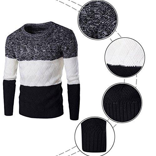 Uomo Slim Fit Pullover maglione a manica lunga con colori assortiti Maglieria Nero
