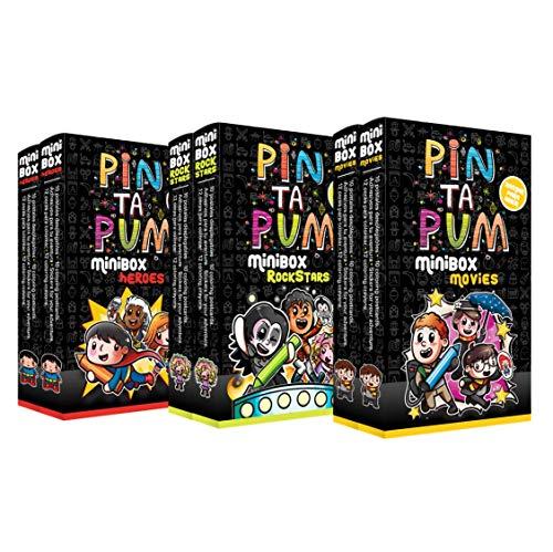 PinTaPum Pandilla Pack 6 Minibox 2 Heroes, 2 Rockstars y 2 Movies. Cuadernos para Colorear Que Incluyen Colores, Ilustraciones y Pegatinas, Multicolor (1)