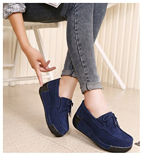 NEWZCERS Chaussures en daim casual femmes avec tassel & bowtie chaussures plate-forme motrice Bleu