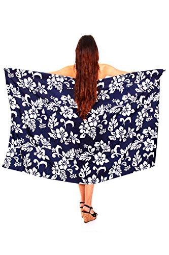 Funky-Camicia hawaiana, Sarong, motivo: ibisco blu Taglia unica