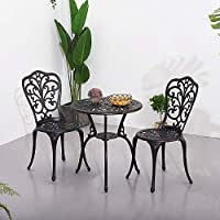 PananaHome 3 Piece Patio Garden Furniture Set with Cushions Cast Aluminium Bistro Table with 2 Chairs Cushion Outdoor