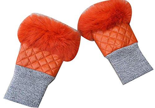 CWJ Herbst- und Winterfrauen Halbe Fingerhandschuhe Maschinenschreiben Fahren,Orange,Einheitsgröße