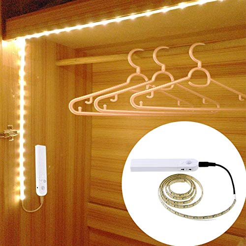 NOBLJX Motion Sensor Wardrobe Light Strip Batterie Powered Human Body Induction Lamp Mit automatischem Schließzeimer Closet Light 1M/2M/3M für Wardrobe, Drawer,White,2m Human Sensor