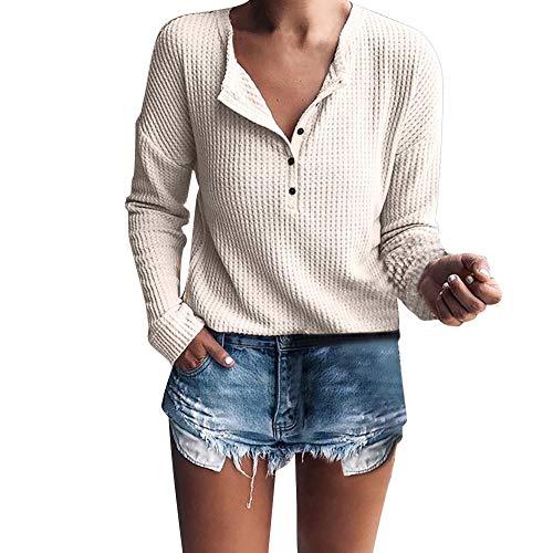52f0c869bd VJGOAL Mujer Primavera Moda Casual Camisa de Manga Larga Cuello en v Rib  Knit Color sólido