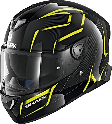 Shark Casco de moto SKWAL 2 FLYNN WHT LED KYA, negro/amarillo, L