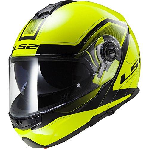 LS2ff325Strobe/civik tapa delantera casco de moto con desplegable interior sol visera, mujer hombre, Hi-Viz Yellow Black, XL
