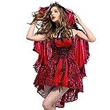 iShine Costume du Petit Chaperon Rouge Femme Cosplay Jeu Uniforme Robe de Sangle Jupe...