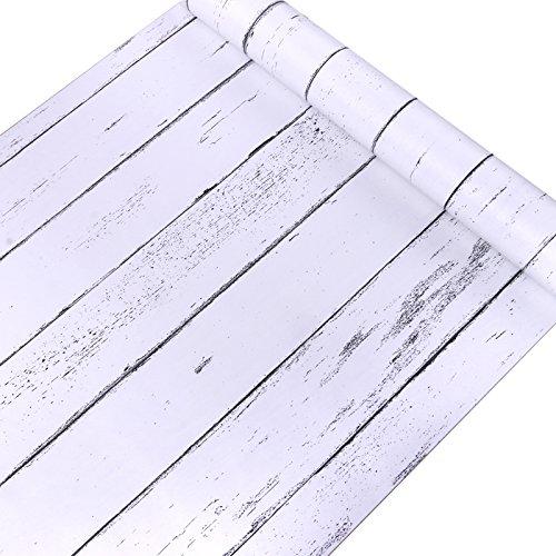 Decorativo blanco grano de madera papel de contacto forro autoadhesivo estante maletero...