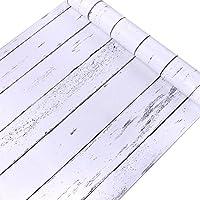 Decorativo blanco grano de madera papel de contacto forro autoadhesivo estante maletero Peel y Stick papel pintado para cubrir armario de cocina encimera estantes manualidades 45 x 200 cm