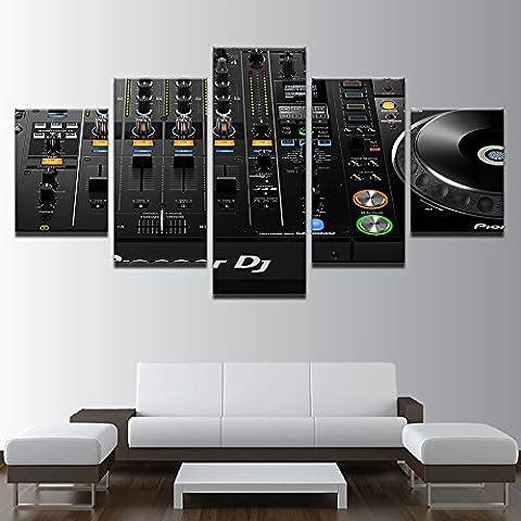 Modulare Bilder Wall Art Frame druckt Poster 5 Stück Musik DJ-Konsole Instrument Mixer Leinwand Gemälde Wohnzimmer Einrichtung, 10 x 15 10 x 20 10 x 25 cm, Rahmen