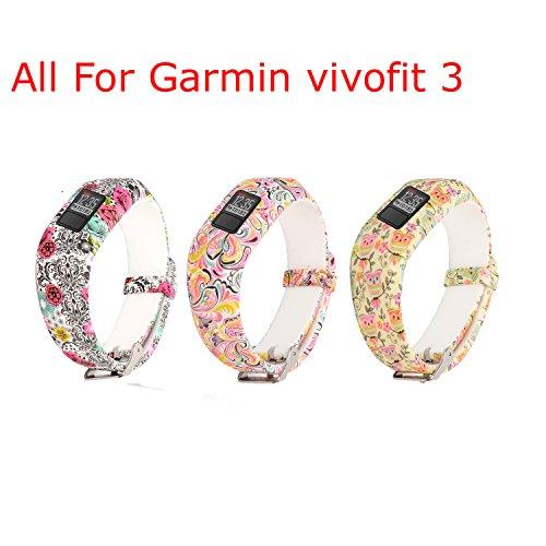 mtsugar Garmin Vivofit 3Ersatz-Armband mit sicheren Verschlüssen (ohne Tracker, nur Ersatzbänder), Owls&Cloud&Flower