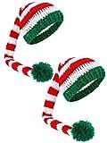 2 Stücke Weihnachten Langen Schwanz Hut Kinder Häkeln Weihnachten Mütze Bommel Stricken Mütze Hut Gestreiften Hut für Neugeborene Fotografie Party Weihnachten Kostüm Zubehör (Grün)