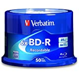 Verbatim BD-R 25 GB 6X with Branded Surface, 50-Disc Spindle 98397
