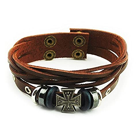 Real Spark Mens Womens Snap Button Multilayer Brown Leather Beads Maltese Cross Wrap Bracelet by Real Spark
