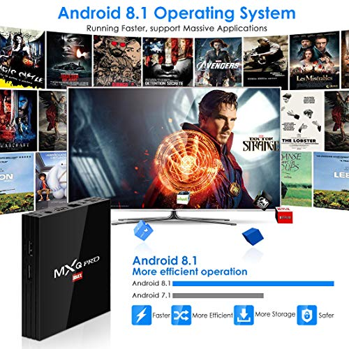 Android 8.1 TV Box,  Superpow Smart TV Box Quad Core 4GB RAM+32GB ROM,  BT 4.1,  4K*2K UHD H.265,  HDMI,  USB*2,  WiFi Media Player,  Android Set- Top Box