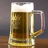 Regalo Original para Hombre, Jarra de Cerveza de Cristal para el Rey de la casa Personalizada con Nombre en Estuche cumpleaños y Día del Padre.