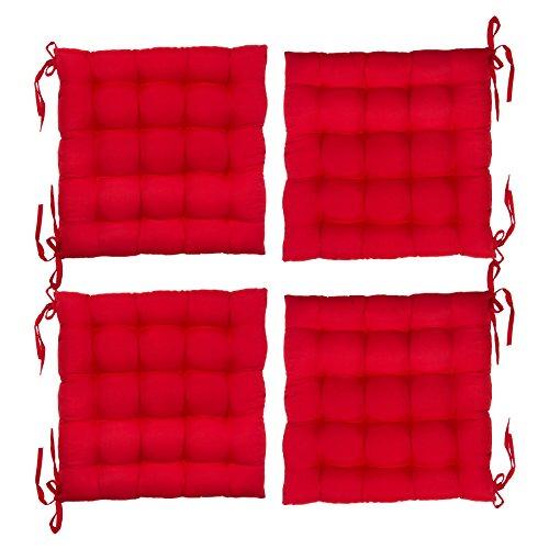Levivo gepolsterte Sitzkissen im 4er Set, Stuhlkissen / Gartenkissen, ca. 40 x 40 x 5 cm, Rot