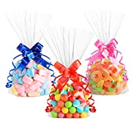 Anstore 100 Clear Cellophane Treat Bags, Block Bottom Cello Bags Sweet Party Gift Bags OPP Plastic Bags with 100 Pull Bows and 100 Twist Ties for Candy Soap Cookie Chocolates, 15 x 25 cm