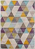 Carpetforyou Designer Teppich Desert Abstract Dreieckmuster bunt weich Pflegeleicht strapazierfähig (140 x 200 cm)