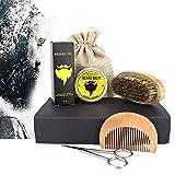 Bartpflege Set für Männer (7-Teilig): Organic Bartöl (30ml) + Organic Bart Balsam (30g) + Bartkamm + Bartbürste + Edelstahl Bartschere - Mit Reisetasche +Reisebox