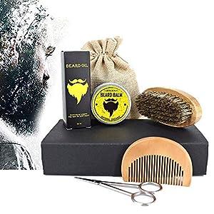 Bartpflege Set für Männer (7-Teilig): Organic Bartöl (30ml) + Organic Bart Balsam (30g) + Bartkamm + Bartbürste + Edelstahl Bartschere – Mit Reisetasche +Reisebox