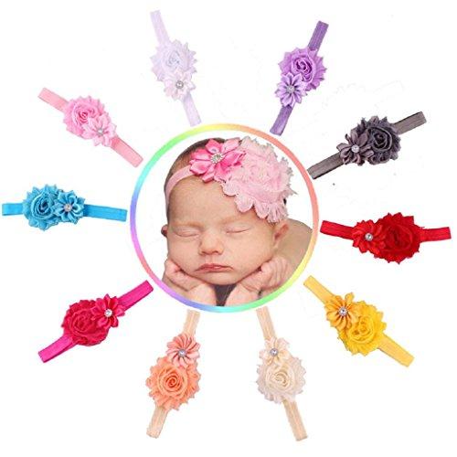 Koly 10pcs del bebé elástico multicolor flor diadema, flor Headwear