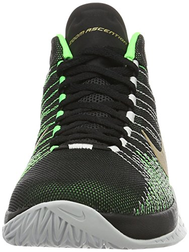 Nike Zoom Ascention, Scarpe da Basket Uomo Nero (Blk / Mtllc Gld-Vltg Grn-Pr Pltn)