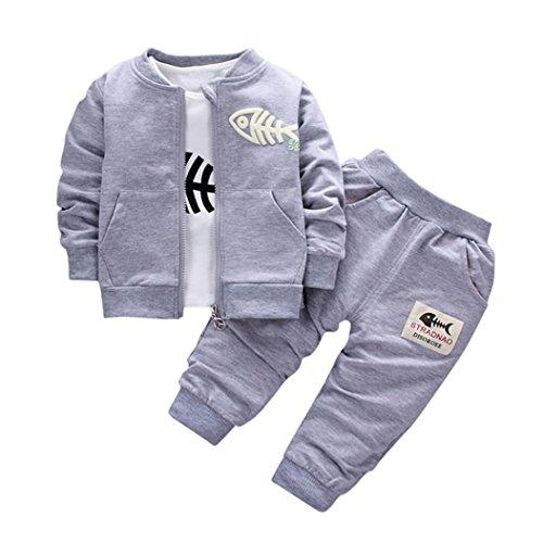 Luckycat 3 STÜCKE Kinder Baby Kleidung Jungen Kleidung Outfits & Set Top Coat + T-shirt + Hosen Fisch (12M--80cm-S, Grau)