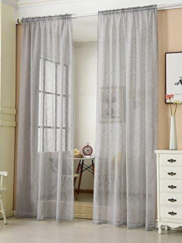 HOLISTAR Transparente Gardine mit Kräuselband 2 Stücke Fensterschal in Leinen-Optik Dekoschal in Hellgrau 140x245 cm Fenstervorhang für Schlafzimmer Kinderzimmer Küche Stores Vorhang